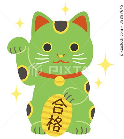 Green beckoning cat oval pass passing glitter 38887645