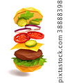 Hamburger Flying Ingredients 38888398