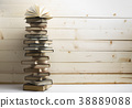 Open book, hardback books on wooden table. Back to 38889088