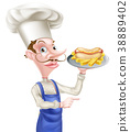 Cartoon Hotdog Chef Pointing 38889402