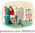 Lady In Armchair Cats Illustration 38889524