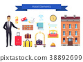 Hotel Elements Icons and Title Vector Illustration 38892699