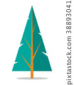 Flat Spruce Icon Isolated on White 38893041