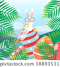Rabbit painted easter eggs in the forest 38893531