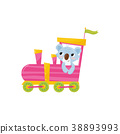 Funny blue koala with pink cheeks riding on 38893993