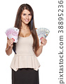 Woman holding us dollar and euro cash money 38895236