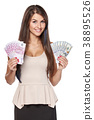 Woman holding us dollar and euro cash money 38895526