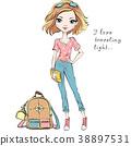 Vector beautiful fashion girl travels the world 38897531