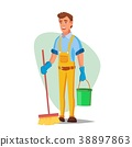 Office Cleaning Service Vector. Washing Machine 38897863