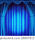 Blue Theater Curtain Vector. Theater, Opera Or 38897912