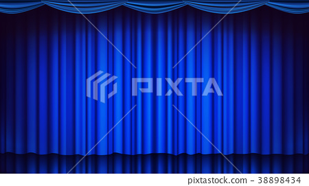 Blue Theater Curtain Vector. Theater, Opera Or 38898434