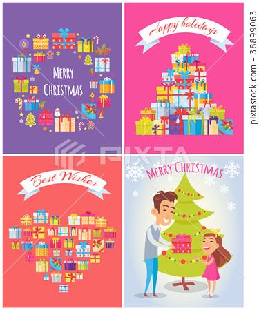 Happy Birthday Merry Christmas Vector Illustration 38899063