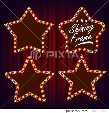 Star Retro Frame Set Vector. Realistic Shine Lamp 38899575
