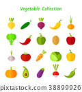 Stylish design vegetable isolated icon set 38899926