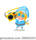 Snow Maiden with Record Player Vector Illustration 38900203