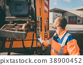 Worker emptying dustbin into waste vehicle 38900452