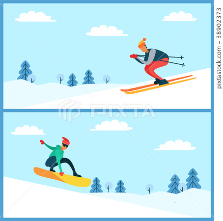 Skier and Snowboarder Set, Vector Illustartion 38902373
