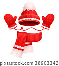 Hat and Scarf with Mittens Vector Illustration 38903342