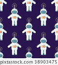 Seamless Pattern with Cosmonaut Suits Isolated 38903475
