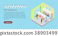 Supermarket Milk Department Isometric Web Banner 38903499