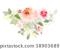 Greeting card with watercolor flowers handmade. 38903689