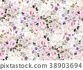 Seamless summer pattern with watercolor flowers 38903694
