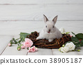 Easter bunny with flowers on white planks 38905187