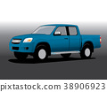 Vector car cartoon, cargo  pickup 38906923
