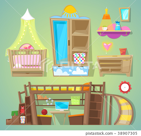 Playroom vector children furniture bed in 38907305