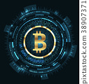 Bitcoin with HUD Elements. Bit Coin, BTC, Bit-coin 38907371