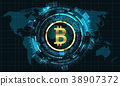 Bitcoin with HUD Elements. Bit Coin, BTC, Bit-coin 38907372