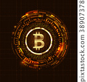 Golden Bitcoin Digital Currency, Futuristic Money 38907378