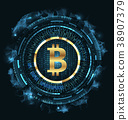 Golden Bitcoin Digital Currency, Futuristic Money 38907379