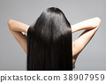 긴 머리 스트레이트 헤어 젊은 여성 뒷모습 38907959
