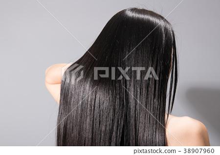 긴 머리 스트레이트 헤어 젊은 여성 뒷모습 38907960