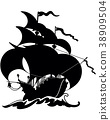 Beautiful Sailing Ship Silhouette 38909504