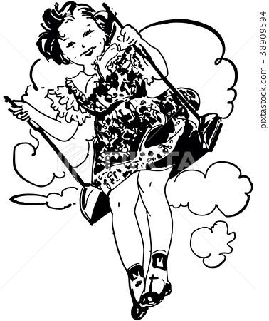 Little Girl On Swing 38909594
