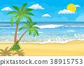 vector, beach, tree 38915753