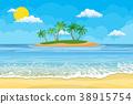 vector, beach, ocean 38915754