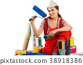Repair home woman holding paint roller for 38918386