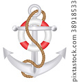 anchor with rope and safety ring logo vector 38918533