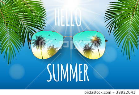Hello Summer Background with Glass and Palm 38922643