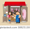 A local pork butcher's shop in Hong Kong 38925130