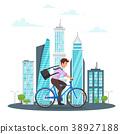 Businessman riding on the bike 38927188