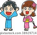 유카타를 입은 아이들의 일러스트 소재 (고개) 38929714