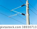 青空中的電車線 Tram line with blue sky 青空の下の高架線 電纜線 科技 現代 38930713