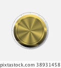 Dial Knob. Realistic Gold Button 38931458