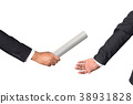 businessman passing relay baton to colleague 38931828