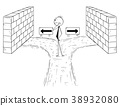 Cartoon of Businessman on Dead End with No Right 38932080