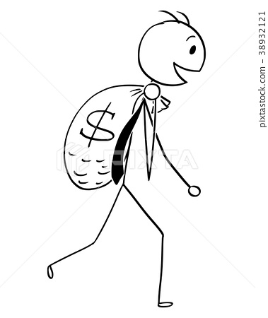 Cartoon of Smiling Businessman Carry Large Bag of 38932121